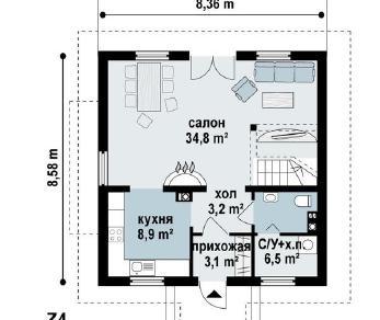 Проект дома Проект z4, 110.4 м2