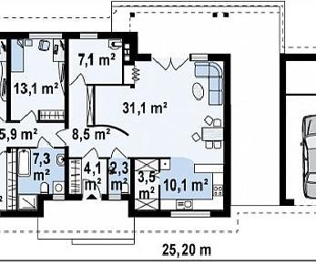Проект дома Проект Z98, 167.3 м2