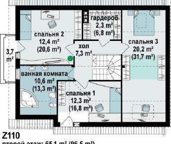 Проект дома Проект z110, 194.3 м2