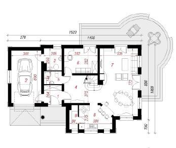 Проект  Дом в лобелиях 3, 172.4 м2