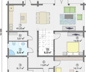 Проект  Двухэтажный дом с застекленной верандой, 325 м2