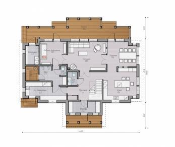 Проект  Проект деревянного коттеджа Alder 231, 307 м2