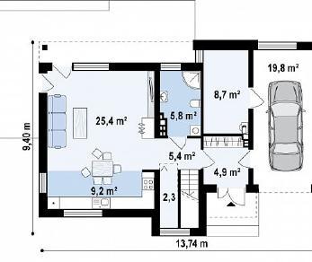 Проект дома Проект Zx59, 147.3 м2