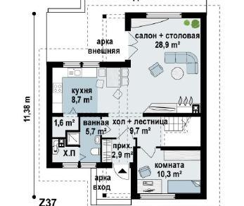 Проект дома Проект z37, 141.1 м2