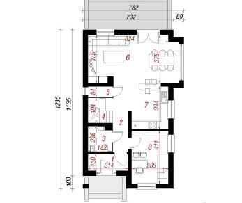 Проект  Дом в дельфиниуме 4, 119.6 м2