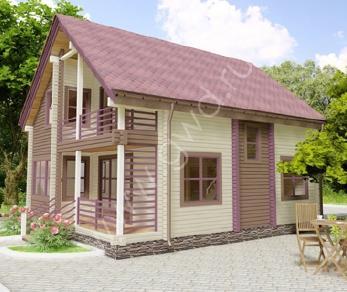 Проект  Деревянный дом с террасой, 155 м2