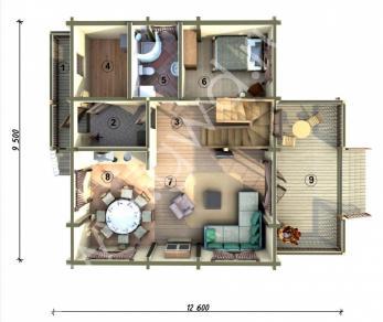 Проект  Дом с верандой, 189 м2