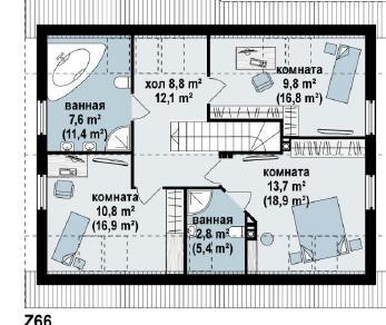 Проект дома Проект z66, 154.3 м2