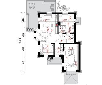 Проект  Дом в рукколе , 130.9 м2