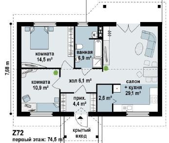 Проект дома Проект z72, 74.5 м2