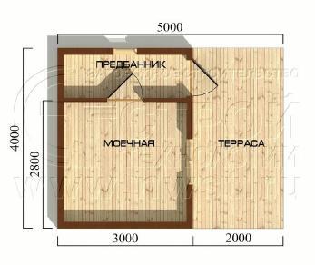 Проект бани Баня. Проект №4, 20 м2