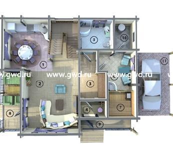 Проект  Деревянный коттедж под отделку, 217 м2