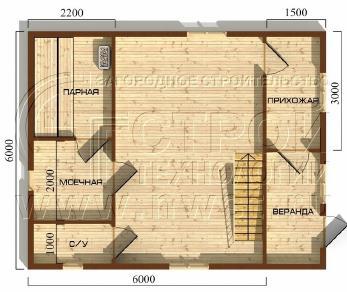Проект бани Баня. Проект №7, 45 м2
