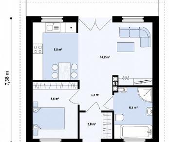 Проект дома Проект Z60, 44 м2