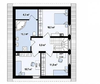 Проект дома Проект Z115, 121.4 м2