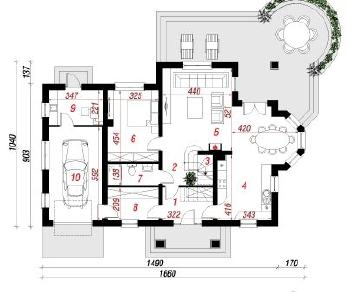 Проект  Дом с агератуме, 208.6 м2