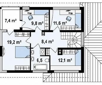 Проект дома Проект Zx8, 163.5 м2