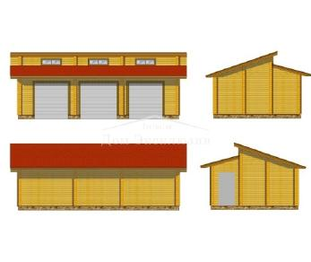 Проект гаража Гараж из клееного бруса, 73 м2