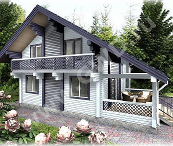 Проект  Дом из клееного бруса с верандой, 189 м2