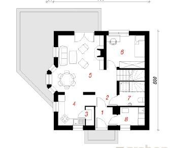 Проект  Дом в рододендронах, 101.7 м2