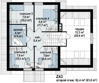 Проект дома Проект z43, 167.9 м2