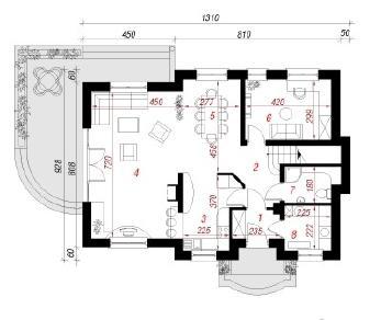 Проект  Дом в кизиле, 154 м2