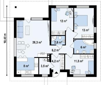 Проект дома Проект z273, 93.6 м2