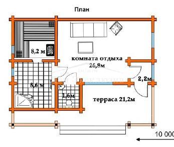 Проект бани Проект БН-78, 68.6 м2