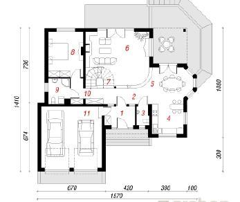 Проект  Дом под лимбой, 223.9 м2