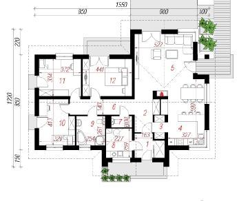 Проект  Дом в кордилине, 119.7 м2