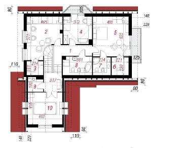 Проект  Дом под красным деревом, 233.8 м2