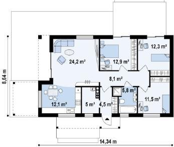 Проект дома Проект z258, 96.4 м2