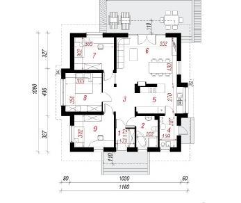 Проект  Дом в дерене, 92.2 м2