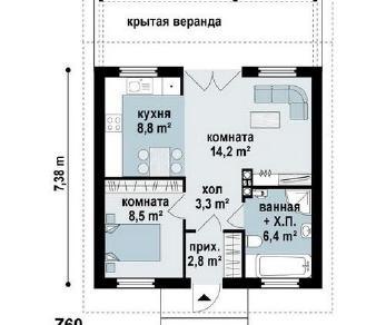 Проект дома Народный 3, 44 м2