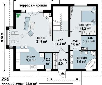 Проект дома Проект z95, 188.1 м2