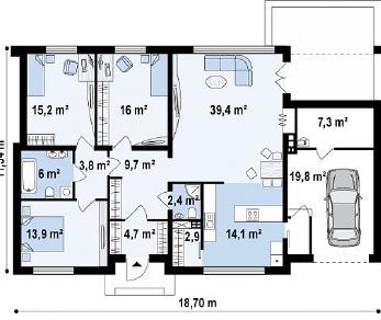Проект дома Проект Zx13, 155.4 м2