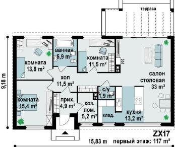 Проект дома Проект zx17, 117 м2