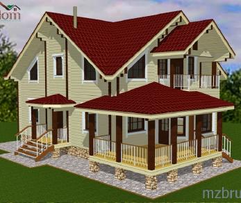 Проект дома Проект дома из клееного бруса «София», 174.92 м2