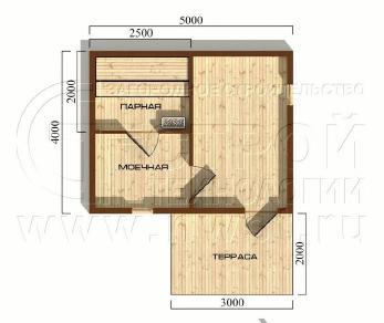 Проект бани Баня. Проект №13, 26 м2
