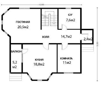 Проект  Дачник - дом из бруса, 148 м2