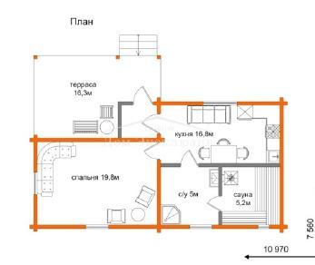 Проект дома Проект ДН-74/2, 65.4 м2
