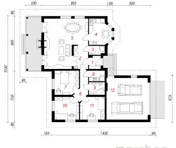 Проект  Дом в гардениях, 145.8 м2