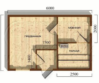 Проект бани Баня. Проект №1, 24 м2