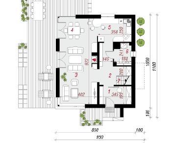 Проект  Дом в гравиоле, 124.8 м2