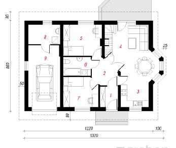 Проект  Дом в ягодах 2, 85.3 м2