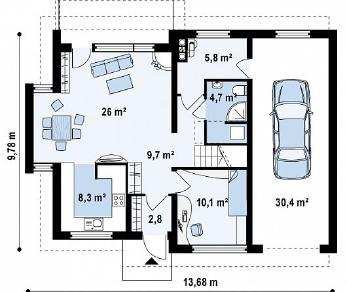 Проект дома Проект Z110, 194.4 м2