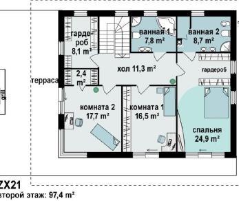 Проект дома Проект zx21, 247.1 м2