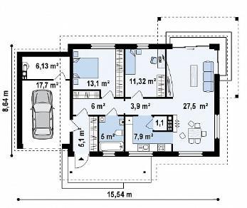 Проект дома Проект Z259, 104.6 м2