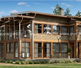 Проект  Двухэтажный дом из клееного бруса, 286 м2