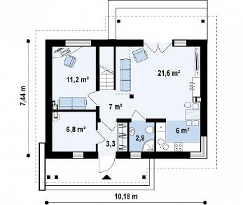 Проект дома Проект Z210, 112.1 м2